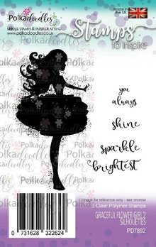 Polkadoodles Graceful Flower Girl 2 Silhouettes Clear Stamps (PD7892)