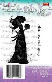 Polkadoodles Graceful Flower Girl 4 Silhouettes Clear Stamps (PD7894)