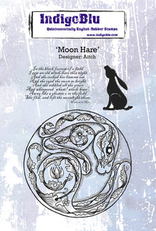 IndigoBlu Moon Hare A6 Rubber Stamp (IND0542)