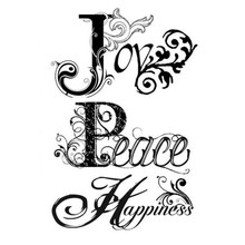 Stamperia Natural Rubber Stamp Joy, Peace, Happiness (WTKCC42)