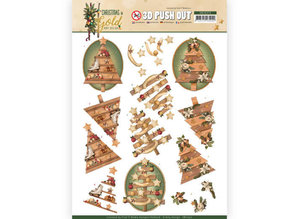 Amy Design 3D Push Out Christmas in Gold Trees in Gold (SB10372)