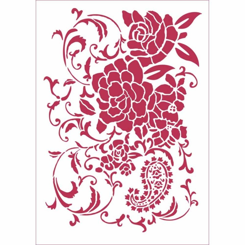 Stamperia A4 Mix Media Stencil Floral Ramage KSG432 New