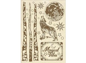 Stamperia Wooden Shapes A5 Cosmos Wolf (KLSP056)