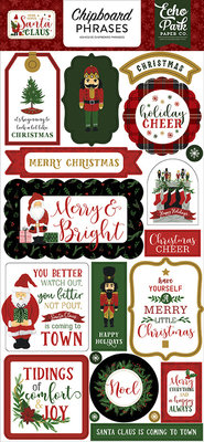 Echo Park Here Comes Santa Claus 6x13 Inch Chipboard Phrases (HCSC188022)