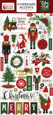Echo Park Here Comes Santa Claus 6x13 Inch Chipboard Accents (HCSC188021)