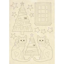 Stamperia Wooden Shapes A5 Make a Wish Trees & Cats (KLSP062)