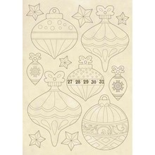 Stamperia Wooden Shapes A5 Make a Wish Christmas Balls (KLSP063)