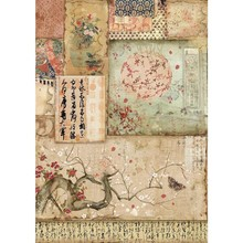 Stamperia Rice Paper A4 Oriental Garden Branch & Writings (DFSA4394)