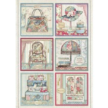 Stamperia Rice Paper A4 Grand Hotel Cards (DFSA4400)