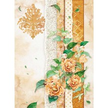 Stamperia Rice Paper A4 Flowers For You Ocher (DFSA4416)