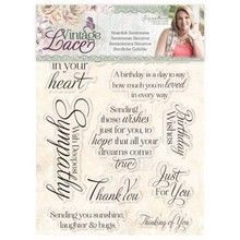 Crafter's Companion Vintage Lace Heartfelt Sentiments Clear Stamps (S-VL-ST-HESE)