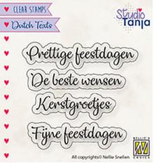 Nellie Snellen NL Teksten Prettige Feestdagen Clear Stamps (DTCS025)