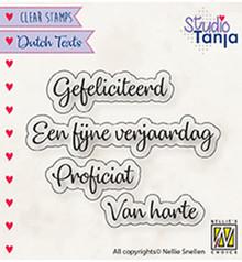 Nellie Snellen NL Teksten Gefeliciteerd Clear Stamps (DTCS027)