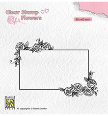 Nellie Snellen Rectangle Frame With Roses Clear Stamp (FLO019)