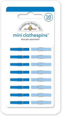Doodlebug Design Inc. Blue Jean Mini Clothespins (16pcs) (4446)