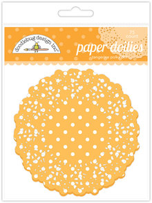 Doodlebug Design Inc. Tangerine Polka Dot Doilies (75pc) (4466)