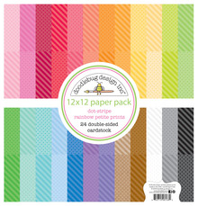 Doodlebug Design Inc. Dot-Stripe Rainbow 12x12 Inch Petite Prints Paper Pack (6133)