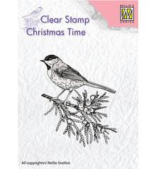 Nellie Snellen Conifer Branch With Bird Clear Stamp (CT023)