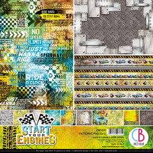 Ciao Bella Papercrafting Start Your Engines 12x12 Inch Patterns Pad (CBT031)