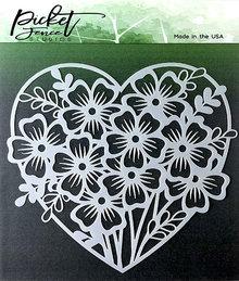 Picket Fence Studios Heart of Flowers Stencil (SC-123)