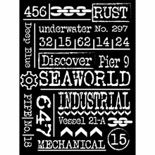 Stamperia Mixed Media Stencil Mechanical Sea World Writings (KSAT11)