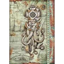 Stamperia Rice Paper A4 Mechanical Sea World Octopus (DFSA4435)
