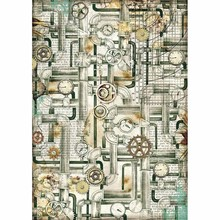 Stamperia Rice Paper A4 Mechanical Sea World Pipes (DFSA4436)