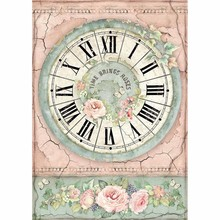 Stamperia Rice Paper A4 House of Roses Clock (DFSA4444)
