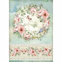 Stamperia Rice Paper A4 House of Roses Roses and Butterfly (DFSA4445)