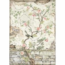 Stamperia Rice Paper A4 House of Roses Little Bird on Branch (DFSA4446)