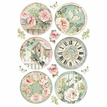 Stamperia Rice Paper A4 House of Roses Round Clocks (DFSA4447)