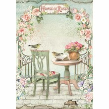 Stamperia Rice Paper A4 House of Roses Gazebo (DFSA4449)