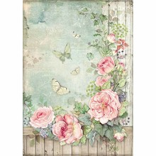 Stamperia Rice Paper A4 House of Roses Roses Garden with Fence (DFSA450)