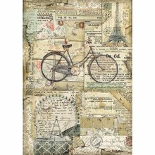 Stamperia Rice Paper A4 Around the World Bicycle (DFSA4458)