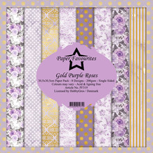 Paper Favourites Gold Purple Roses 12x12 Inch Paper Pack (PF319)