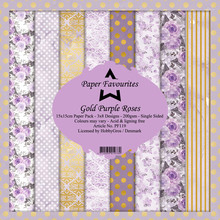 Paper Favourites Gold Purple Roses 6x6 Inch Paper Pack (PF119)