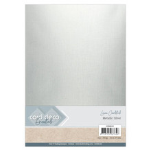Card Deco Essentials Metallic Linnenkarton Metallic Silver (CDEML001)