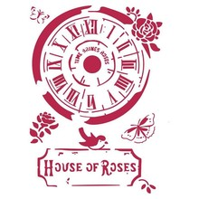 Stamperia Masking Stencil A4 Clock House of Roses (KSG442)