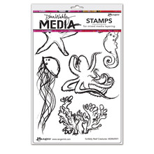 Ranger Dina Wakley Media Cling Stamp Scribbly Creatures (MDR69591)