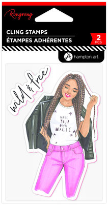 Hampton Art Wild & Free Rubber Stamps (IC0398)