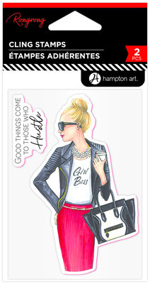 Hampton Art Girl Boss Rubber Stamps (IC0409)