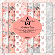 Paper Favourites Coral and Grey 12x12 Inch Paper Pack (PF321)