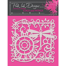 Pink Ink Designs Cogs and Wings 8x8 Inch Masking Stencil (PINKST011)