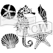 The Crafter's Workshop Sea Creatures 6x6 Inch Stencil (TCW496s)