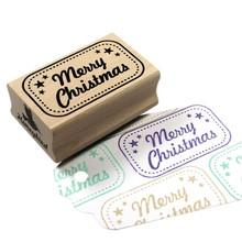 Miss Honeybird Merry Christmas Met Kader Wooden Stamp