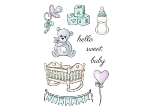 Happy Scrap Sweet Baby Arrival Clear Stamps Set (866021)