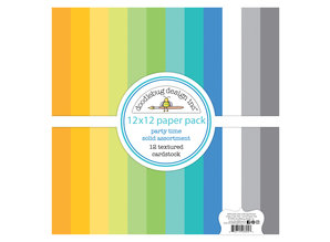 Doodlebug Design Inc. Party Time 12x12 Inch Textured Cardstock Paper Pack (6695)