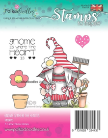 Polkadoodles Gnome is Where the Heart Is Clear Stamps (PD8073)