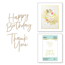 Spellbinders Stylish Script Thank You and Happy Birthday Hot Foil Plates (GLP-190)