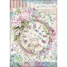 Stamperia Rice Paper A4 Hortensia Clock (DFSA4468)